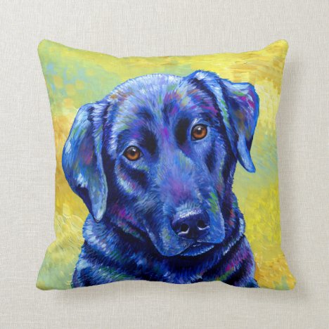 Colorful Labrador Retriever Cute Dog Throw Pillow