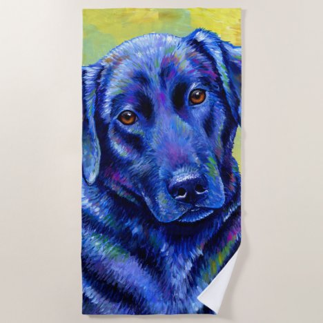 Colorful Labrador Retriever Dog Beach Towel