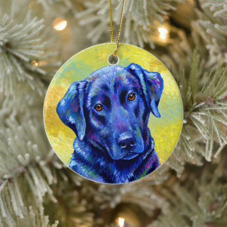 Colorful Labrador Retriever Dog Ceramic Ornament
