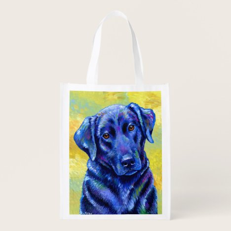 Colorful Labrador Retriever Dog Grocery Bag