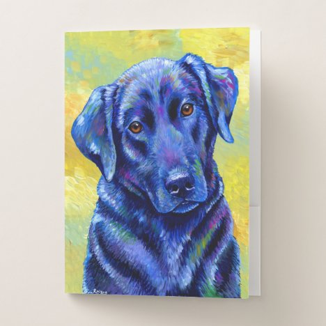 Colorful Labrador Retriever Dog Pocket Folder