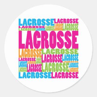 Colorful Lacrosse Classic Round Sticker