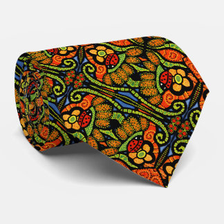 Colorful Ladybug Pattern Polka Dots Flowers Tie