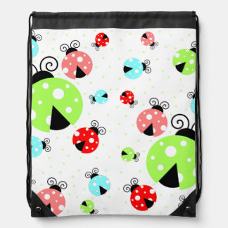 Colorful Ladybugs 2 Drawstring Backpack