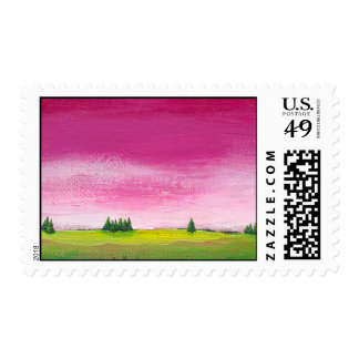 Colorful landscape art pretty peaceful In Time Postage