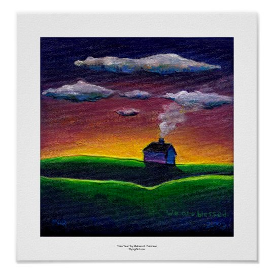 Colorful landscape morning light new year art poster