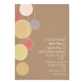 Colorful Lanterns Cardstock Inspired Wedding 5x7 Paper Invitation Card
