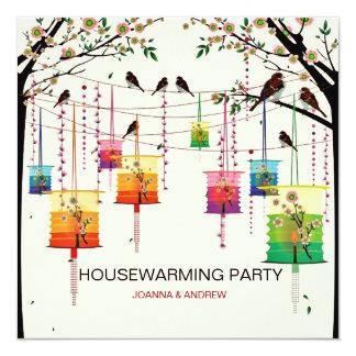 Colorful Lanterns Cherry Tree Birds Housewarming 5.25x5.25 Square Paper Invitation Card