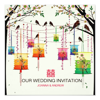 Colorful Lanterns Cherry Tree Birds Spring Wedding Card