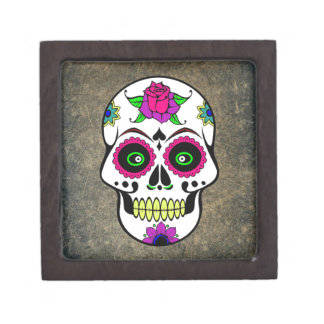 Colorful Large Candy Skull Premium Jewelry Box