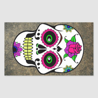 Colorful Large Candy Skull Rectangular Sticker