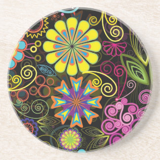 Colorful Large Retro Flowers Drink Coasters