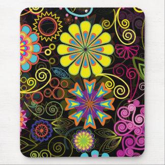 Colorful Large Retro Flowers Mousepad
