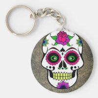 Colorful Large Sugar Skull Basic Round Keychain