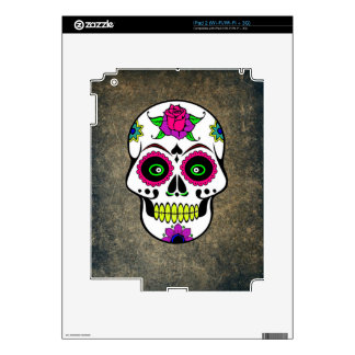 Colorful Large Sugar Skull Decal For The iPad 2
