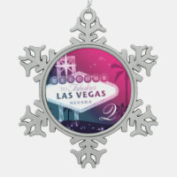 Colorful Las Vegas Wedding Monogram Keepsake Snowflake Pewter Christmas Ornament
