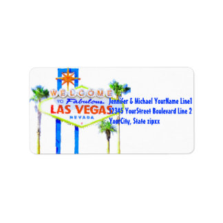 Colorful Las Vegas Welcome Sign Labels