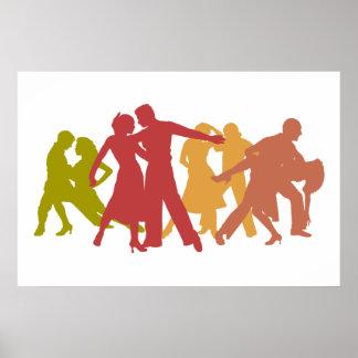 Colorful Latin Dancers Poster