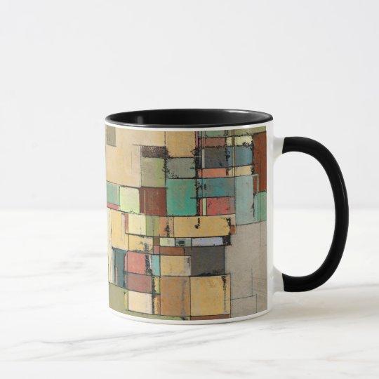 Colorful Lattice Abstract Art Ringer Mug