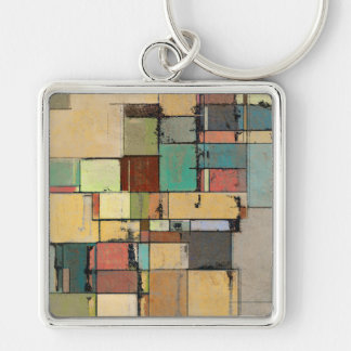 Colorful Lattice Abstract Square Metal Keychain
