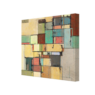 Colorful Lattice Abstract Wrapped Canvas
