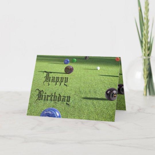 Colorful Lawn Bowls Happy Birthday Card Zazzle