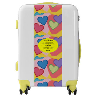 Colorful Layered Hearts Personalized Suitcase