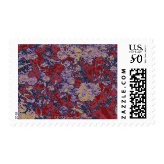 Colorful leaf and flower camouflage pattern postage
