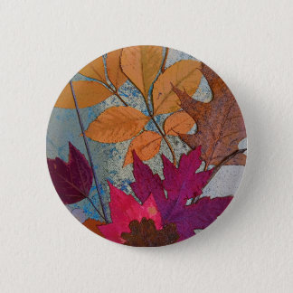 Colorful Leaf Collage Button