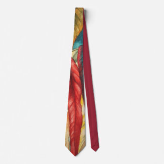 colorful leaf design original abstract quirky art tie