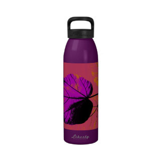 Colorful Leaf Retro Painting Abstract Art 4 Water Bottles