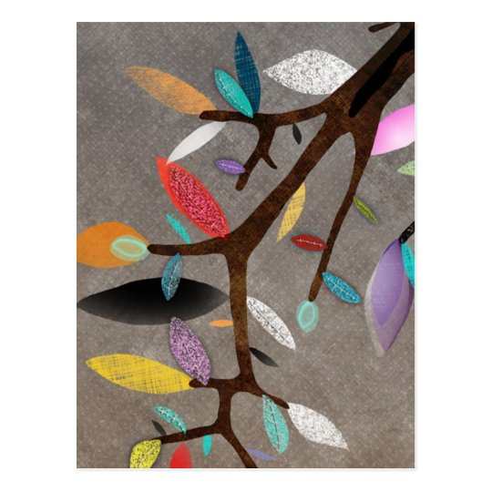 Colorful Leafs Branch Floral Postcard