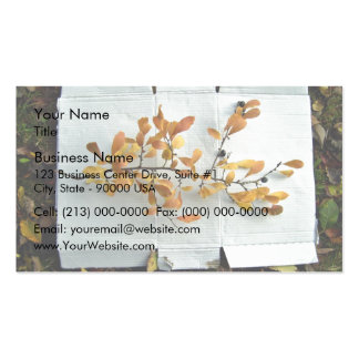 Colorful leafy branch surrounded by fallen leaves business card