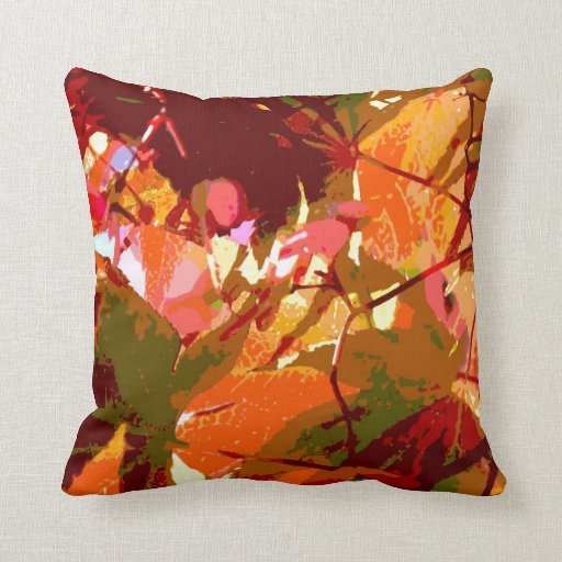 Colorful Leaves Abstract Design Throw Pillow