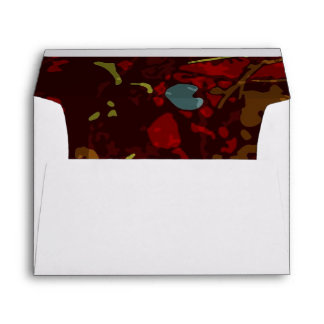 Colorful leaves and flowers against camouflage envelope