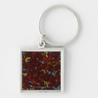 Colorful leaves and flowers against camouflage Silver-Colored square keychain
