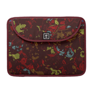 Colorful leaves and flowers against camouflage sleeve for MacBooks