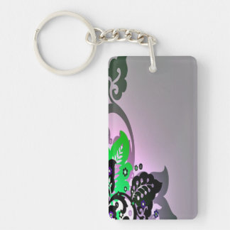 Colorful Leaves and Scroll Keychain