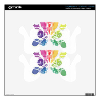 Colorful leaves background design decal for PS3 controller