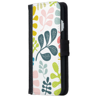 Colorful Leaves Modern Foliage Pattern iPhone 6/6s Wallet Case