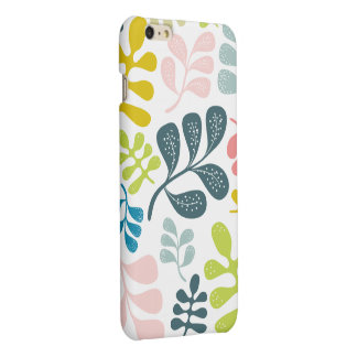 Colorful Leaves Modern Foliage Pattern Matte iPhone 6 Plus Case