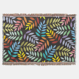 Colorful leaves pattern in rainbow colors custom throw