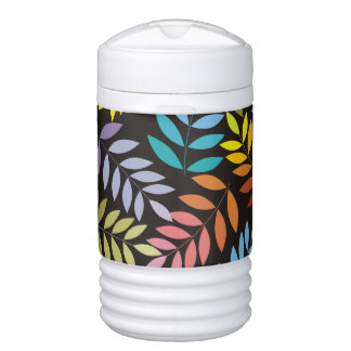 Colorful leaves pattern in rainbow colors modern igloo beverage cooler