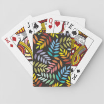 Colorful leaves pattern in rainbow colors modern playing cards
