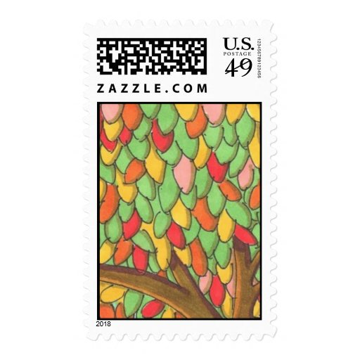 Colorful Leaves Postage Stamp