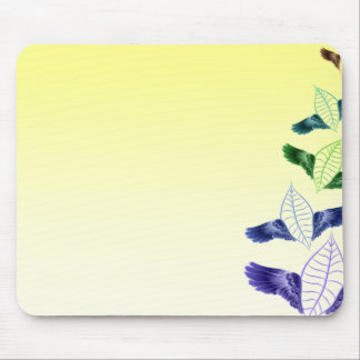 Colorful leaves with stylish wings mouse pad