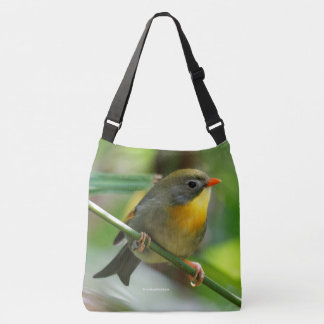 Colorful Leiothrix / Pekin Robin Songbird Crossbody Bag