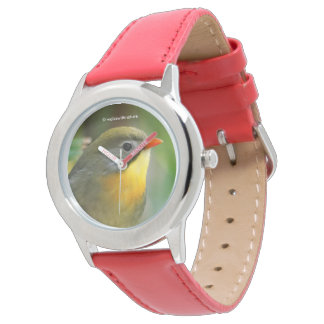 Colorful Leiothrix / Pekin Robin Songbird Wristwatch