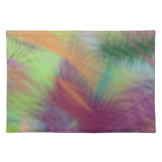 Colorful Lemon Yellow Pink Berry Burst Abstract Cloth Placemat