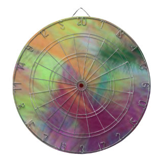 Colorful Lemon Yellow Pink Berry Burst Abstract Dartboard With Darts